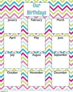 birthday chart template for classroom best photos of birthday list template for teachers