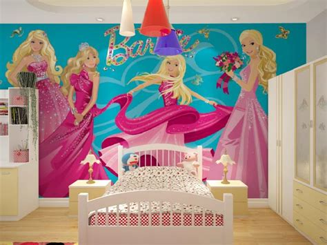 barbie wallpaper for bedroom wholesale 3d mural wallpaper with cartoon barbie girls for