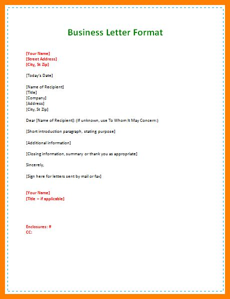 business letter basics 8 basic business letter format dialysis