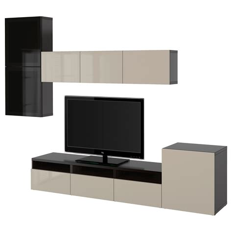 ikea besta glass best 197 tv storage combination glass doors black brown selsviken high gloss beige smoked glass