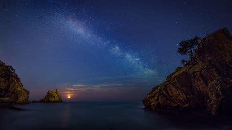 starry sky  ocean  night hd wallpaper background
