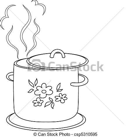 boiling water coloring page clipart vektor von kochen pfanne muster konturen
