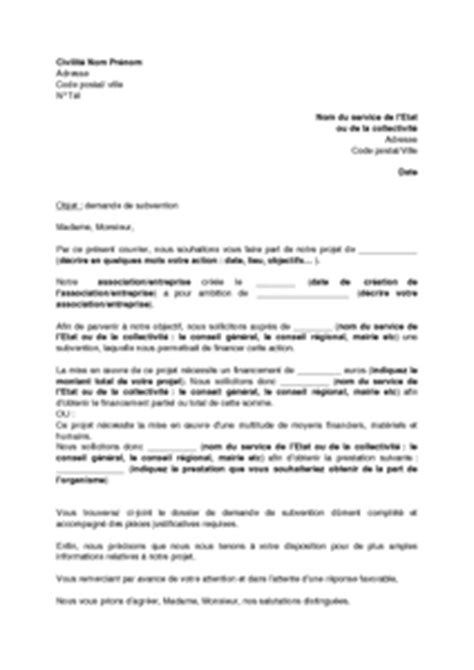 Demande De Subvention Lettre Lettre Demande De Subvention Association