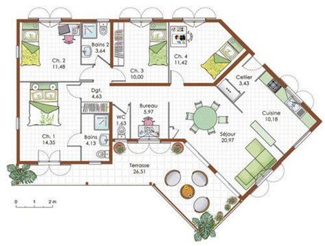 plan maison plein pied 4 chambres 17 best ideas about plein pied on plan maison