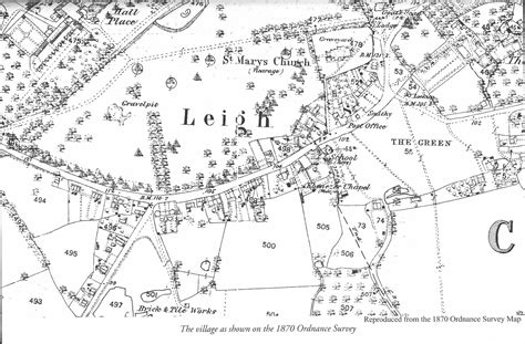 House With A Moat 1870 ordnance survey area around village leigh