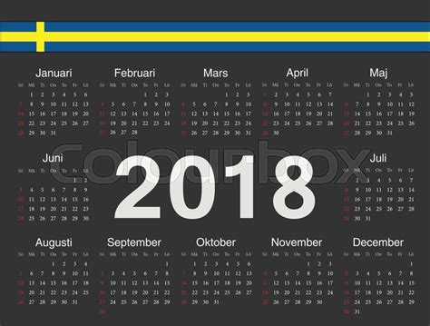 Vector black Swedish circle calendar 2018. Week starts