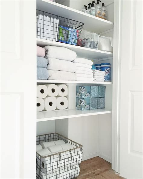 Organized Bathroom Closet Simply Organized Bathroom Closet Storage