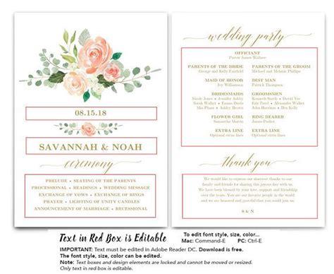 peach blush floral wedding program fan template printable