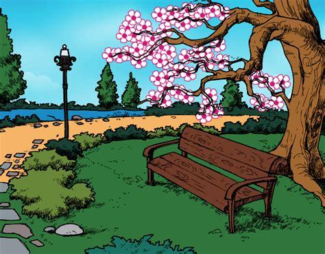 desenho paisagens desenho de paisagem parque pintado e colorido por