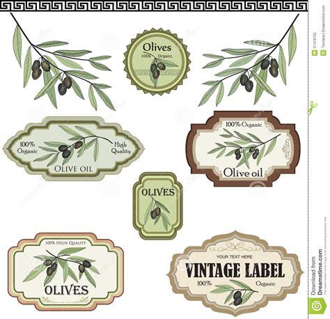 Spanish Kitchen Design vintage olive labels set vector hand drawn sketch