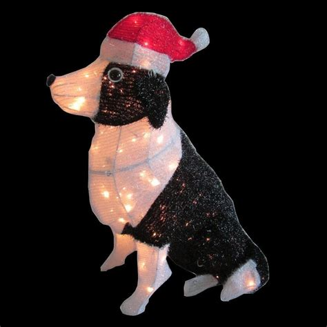 home accents holiday 30 in pre lit tinsel dog with santa