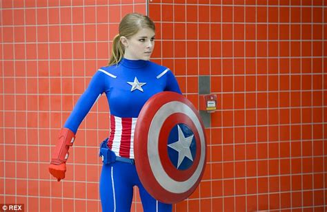 Kaos Spandex Captain America Shield now that s fancy dress fans don dazzling costumes as they pay homage to their favourite