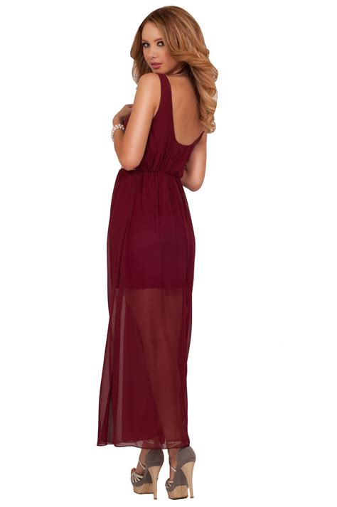 maxi layered pearl beaded empire waist cocktail