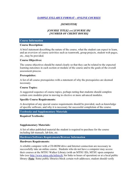 course outline template course syllabus template
