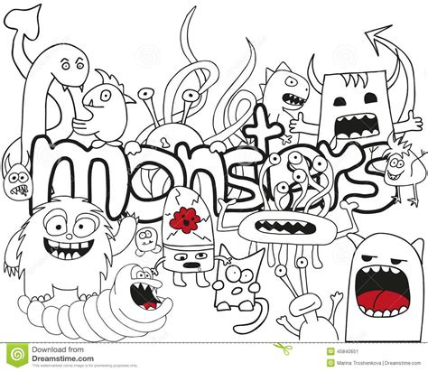 doodle monsters vector doodle collage stock vector image 45840651