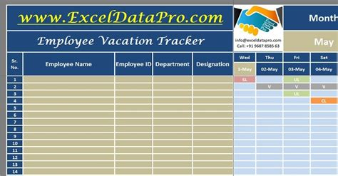 employee vacation tracker excel template exceldatapro