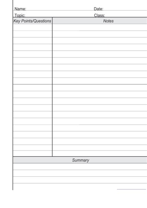 blank cornell notes template printable