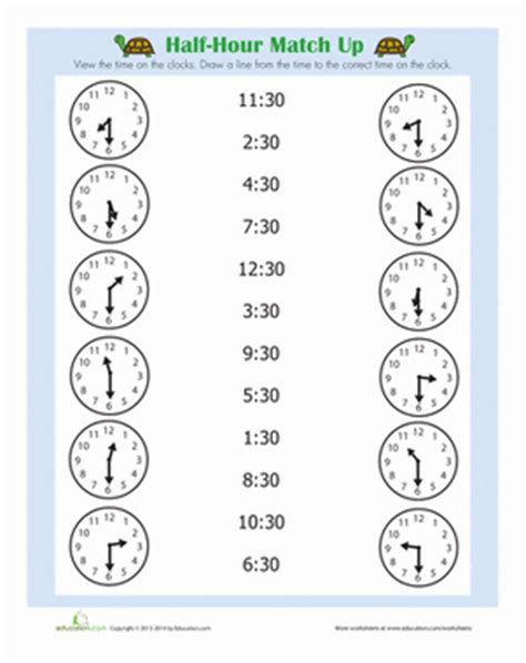 clock worksheets hour and half hour half hour worksheet education com