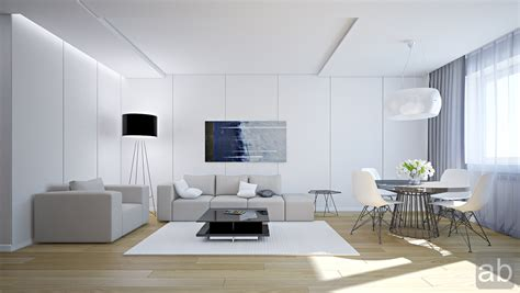 living white room: white living room with grey sofa and white chairs