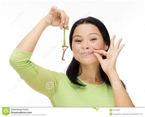 Is 2d Blind Woman Locked Mouth With Key On White Royalty Free Stock