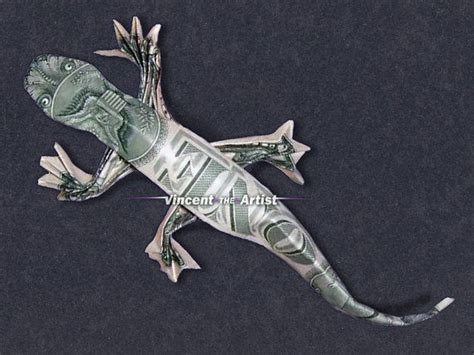 Frog Money Origami Animal Reptile Made Of Real Dollar Bills - dollar bill origami lizard money dollar origami