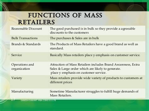 Retail Mba Discount by Mass Retail Ppt Slide