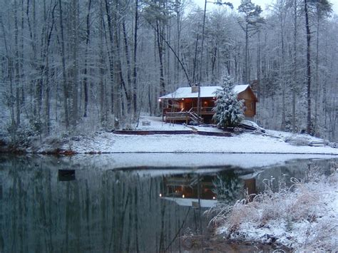 Snow Cabins For Rent by Lucky Lake Is A Secluded Log Cabin On A Fed Lake Located In The Blue Ridge