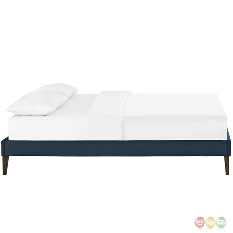 Modern King Bed Frame Modern King Fabric Platform Bed Frame With Square Legs Azure