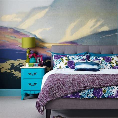 Bedroom with wall mural housetohome co uk