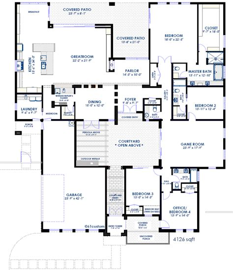 center courtyard house plans courtyard house plan modern courtyard house plans for arizona center courtyard floorplans