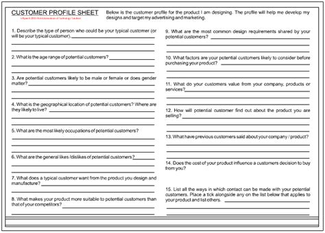 sales customer profile template buiding a customer profile page 2