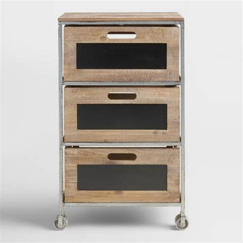 Metal Cart With Drawers Wood And Metal 3 Drawer Mackenzie Rolling Cart World Market
