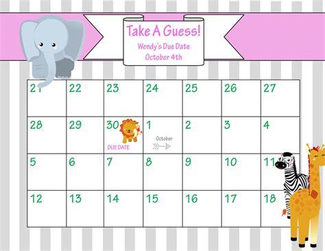 baby pool calendar template baby pool template printable printable calendar template