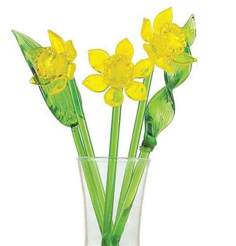 Flowers Glass Vase by Glass Flowers Yellow Daffodil Kremp