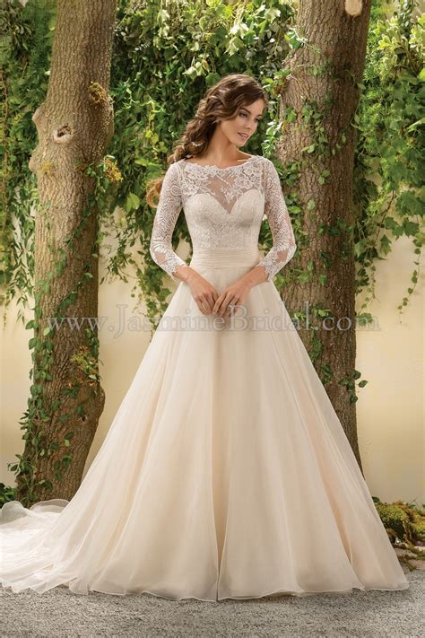 Wedding Gowns Lace Sleeves by F181005 Illusion Neckline Lace Organza Wedding Dress