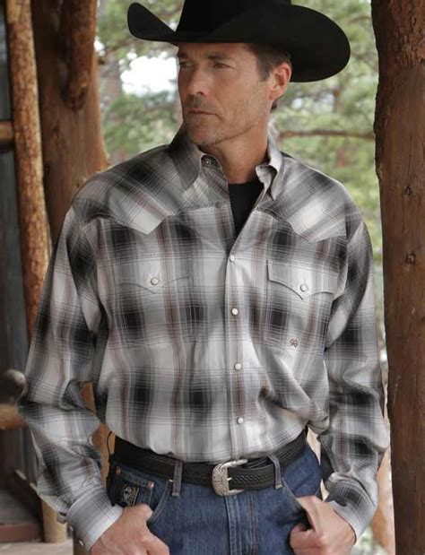 s gray plaid twill western snap shirt by miller ranch