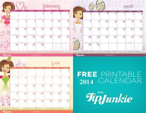 Free Printable 2014 Calendar By Tip Junkie Tip Junkie Tip Junkie