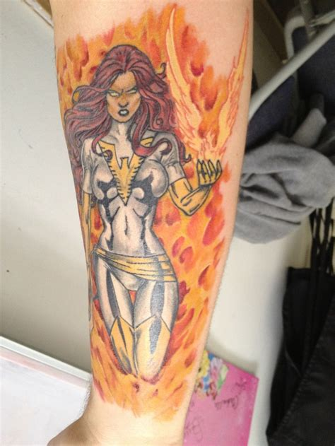 x tattoo phoenix x men sleeve jean grey as white phoenix of the crown