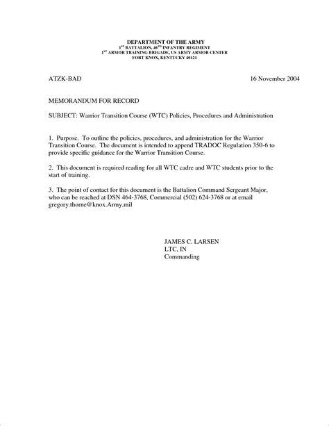 army memo for record template 6 memorandum for record exle memo formats