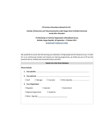 workshop feedback form 7 sle workshop feedback forms sle templates