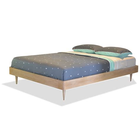 Wood Bed Frame Without Headboard Furniture Japanese Platform Bed With White Bedding And Small Side Table With L With Bed