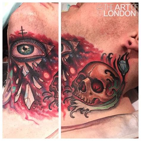 tattoo gem london a colorful tattoo throat piece by artist london reese