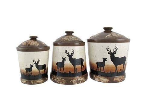 deere kitchen canisters 3 ceramic deer silhouette canister set by