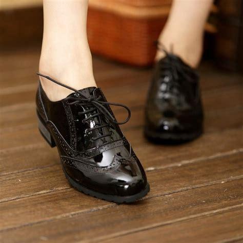 womens black patent leather oxford shoes 2014 new retro vintage patent platform shoes