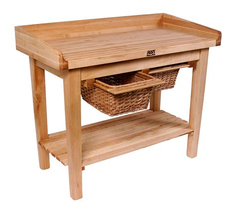boos white house table butcher block w baskets