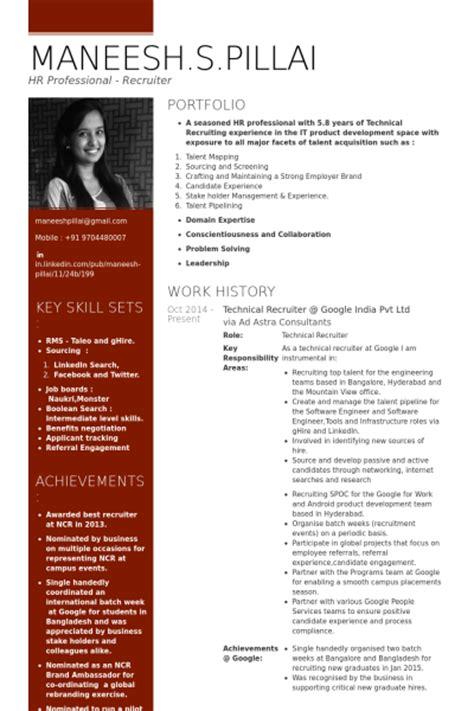 technical recruiter sle resume resume sles visualcv resume sles database