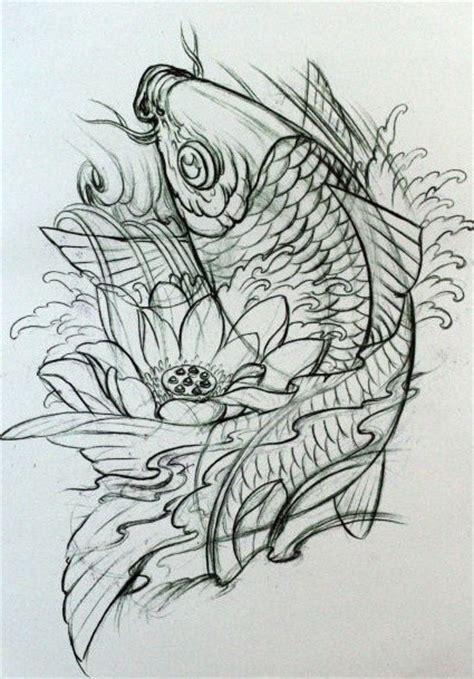 线条感的中国鲤鱼纹身手稿
