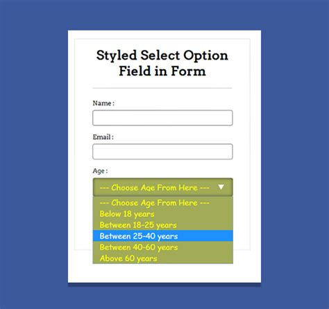 design form select how to implement css design in select option formget
