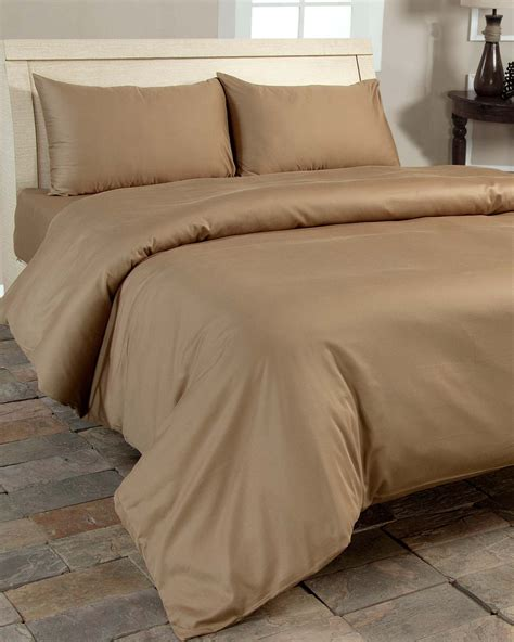 Brown Organic Cotton Duvet Cover Set 400 Thread Count