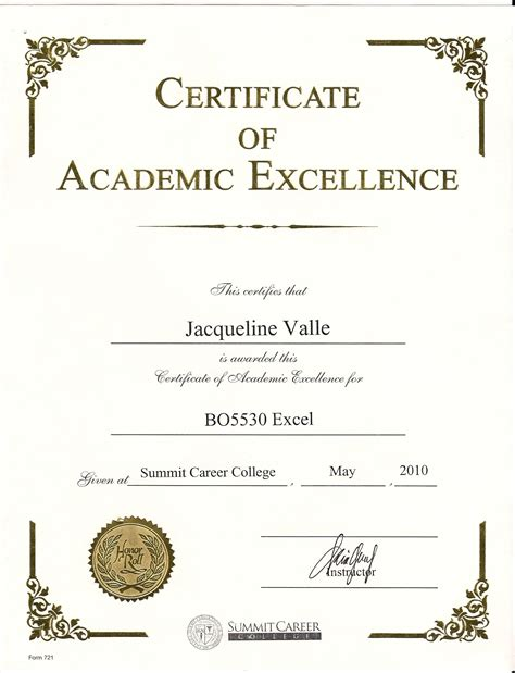 Academic Award Certificate Template awards and certificates jacqueline valle professional portfolio